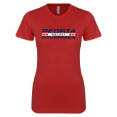 Next Level Ladies SoftStyle Junior Fitted Red Tee-Peoria Rivermen Hockey Stacked