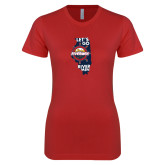 Next Level Ladies SoftStyle Junior Fitted Red Tee-Lets go Rivermen in State