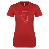 Next Level Ladies SoftStyle Junior Fitted Red Tee-State Outline HKY