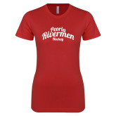 Next Level Ladies SoftStyle Junior Fitted Red Tee-Peoria Rivermen Script