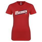 Next Level Ladies SoftStyle Junior Fitted Red Tee-Peoria Rivermen HKY