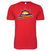 Next Level SoftStyle Red T Shirt-Peoria Rivermen Secondary Mark