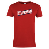 Ladies Red T Shirt-Peoria Rivermen HKY