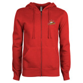 ENZA Ladies Red Fleece Full Zip Hoodie-Peoria Rivermen Secondary Mark