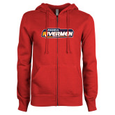 ENZA Ladies Red Fleece Full Zip Hoodie-Peoria Rivermen - Hockey Stick