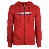 ENZA Ladies Red Fleece Full Zip Hoodie-Peoria Rivermen Hockey