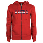 ENZA Ladies Red Fleece Full Zip Hoodie-Peoria Rivermen Hockey Stacked