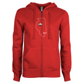 ENZA Ladies Red Fleece Full Zip Hoodie-State Outline HKY