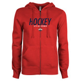 ENZA Ladies Red Fleece Full Zip Hoodie-Hockey - Lets Go Rivermen