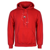 Red Fleece Hoodie-State Outline HKY