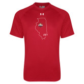Under Armour Red Tech Tee-State Outline HKY