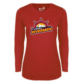 Ladies Syntrel Performance Red Longsleeve Shirt-Peoria Rivermen Secondary Mark