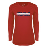 Ladies Syntrel Performance Red Longsleeve Shirt-Peoria Rivermen Hockey Stacked