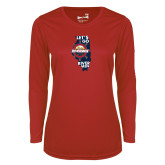 Ladies Syntrel Performance Red Longsleeve Shirt-Lets go Rivermen in State