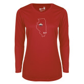Ladies Syntrel Performance Red Longsleeve Shirt-State Outline HKY