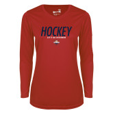 Ladies Syntrel Performance Red Longsleeve Shirt-Hockey - Lets Go Rivermen