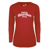 Ladies Syntrel Performance Red Longsleeve Shirt-Peoria Rivermen Script
