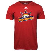 Adidas Climalite Red Ultimate Performance Tee-Peoria Rivermen Secondary Mark