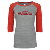 ENZA Ladies Athletic Heather/Red Vintage Baseball Tee-Peoria Rivermen Red Glitter