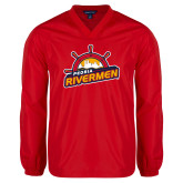 V Neck Red Raglan Windshirt-Peoria Rivermen Secondary Mark