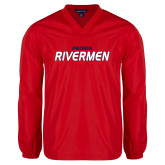 V Neck Red Raglan Windshirt-Peoria Rivermen