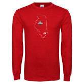 Red Long Sleeve T Shirt-State Outline HKY