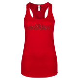 Next Level Ladies Red Ideal Racerback Tank-Peoria Rivermen Red Glitter