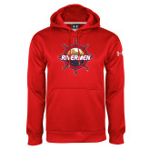 Under Armour Red Performance Sweats Team Hoodie-Primary Mark Distressed