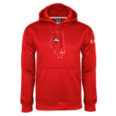 Under Armour Red Performance Sweats Team Hoodie-State Outline HKY