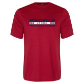 Performance Red Tee-Peoria Rivermen Hockey Stacked