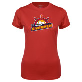 Ladies Syntrel Performance Red Tee-Peoria Rivermen Secondary Mark