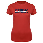 Ladies Syntrel Performance Red Tee-Peoria Rivermen Hockey Stacked