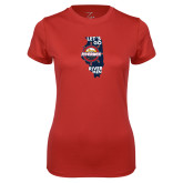Ladies Syntrel Performance Red Tee-Lets go Rivermen in State