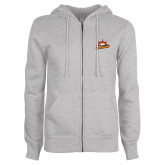 ENZA Ladies Grey Fleece Full Zip Hoodie-Peoria Rivermen Secondary Mark
