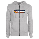 ENZA Ladies Grey Fleece Full Zip Hoodie-Peoria Rivermen - Hockey Stick