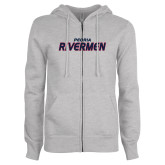 ENZA Ladies Grey Fleece Full Zip Hoodie-Peoria Rivermen