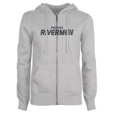 ENZA Ladies Grey Fleece Full Zip Hoodie-Peoria Rivermen Graphite Soft Glitter