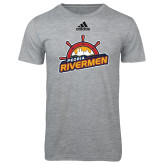 Adidas Sport Grey Logo T Shirt-Peoria Rivermen Secondary Mark