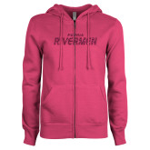 ENZA Ladies Fuchsia Fleece Full Zip Hoodie-Peoria Rivermen Hot Pink Glitter