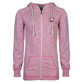 ENZA Ladies Hot Pink Marled Full Zip Hoodie-Primary Mark