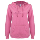ENZA Ladies Hot Pink V Notch Raw Edge Fleece Hoodie-Peoria Rivermen  Foil