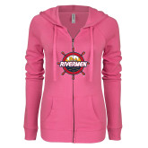 ENZA Ladies Hot Pink Light Weight Fleece Full Zip Hoodie-Primary Mark