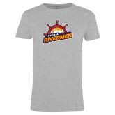 Ladies Grey T Shirt-Peoria Rivermen Secondary Mark