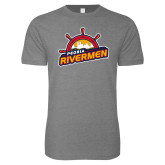 Next Level SoftStyle Heather Grey T Shirt-Peoria Rivermen Secondary Mark