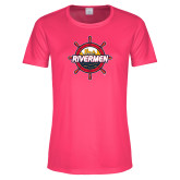 Ladies Performance Hot Pink Tee-Primary Mark