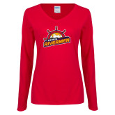 Ladies Red Long Sleeve V Neck Tee-Peoria Rivermen Secondary Mark
