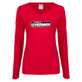 Ladies Red Long Sleeve V Neck Tee-Peoria Rivermen - Hockey Stick