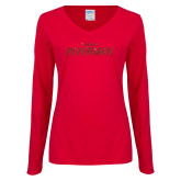 Ladies Red Long Sleeve V Neck Tee-Peoria Rivermen Red Glitter
