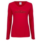 Ladies Cardinal Long Sleeve V Neck Tee-Peoria Rivermen Red Glitter