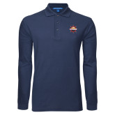 Navy Long Sleeve Polo-Primary Mark w/out Peoria